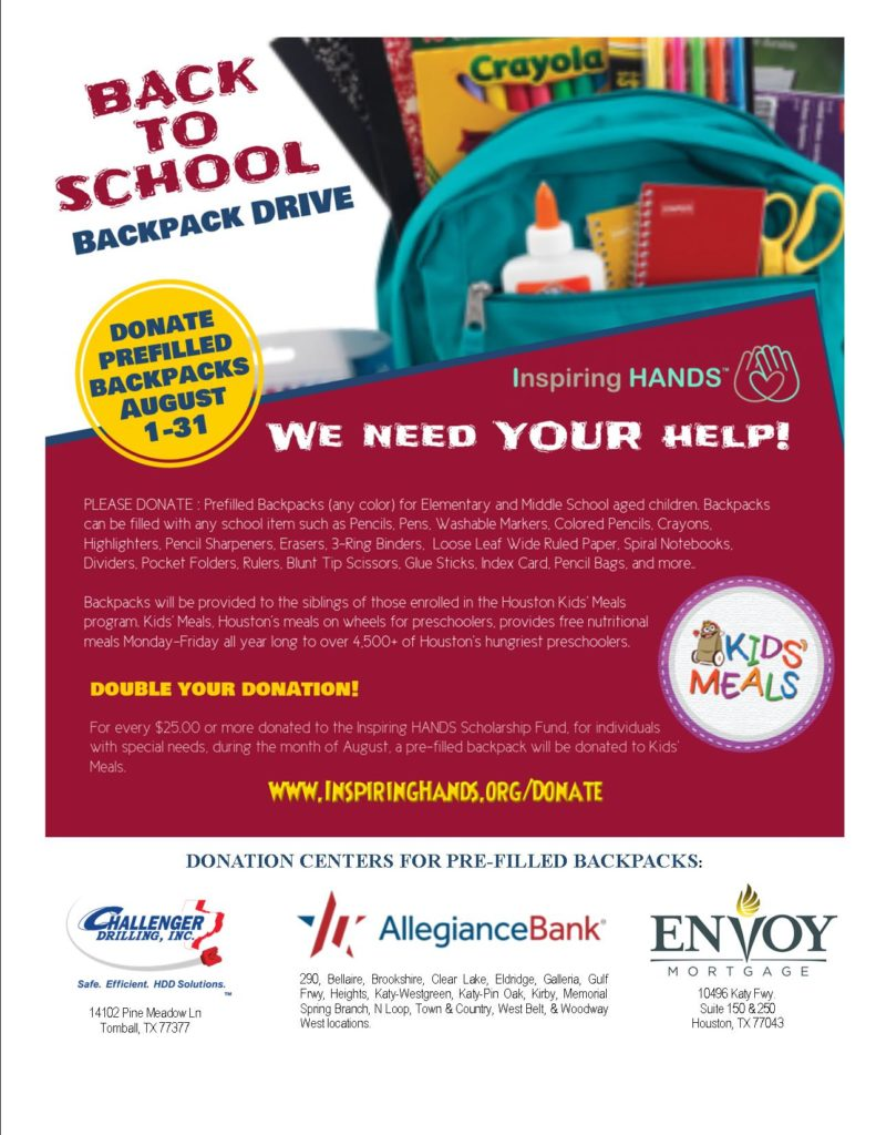 Join the IH Backpacks for School Drive benefiting Kids
